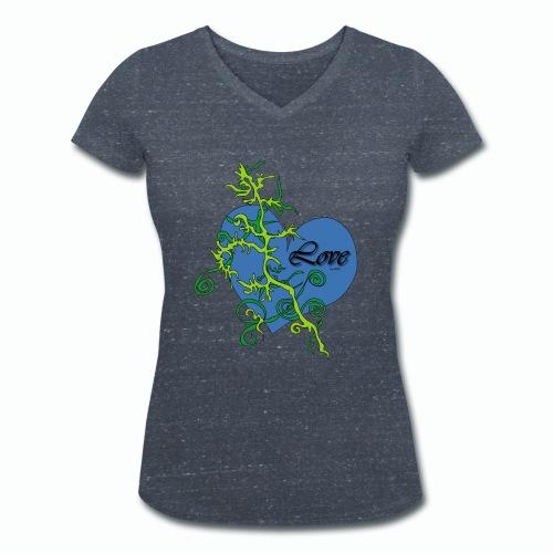Blue Love - Frauen Bio-T-Shirt mit V-Ausschnitt von Stanley & Stella