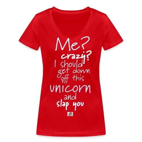 Crazy Unicorn - Dark - Women's Organic V-Neck T-Shirt by Stanley & Stella
