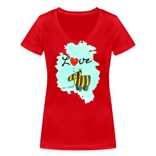 Janosch Verliebte Tigerente Herz Love - Frauen Bio-T-Shirt mit V-Ausschnitt von Stanley & Stella