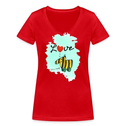 Janosch Tigerente Love Türkis SP - Frauen Bio-T-Shirt mit V-Ausschnitt von Stanley & Stella