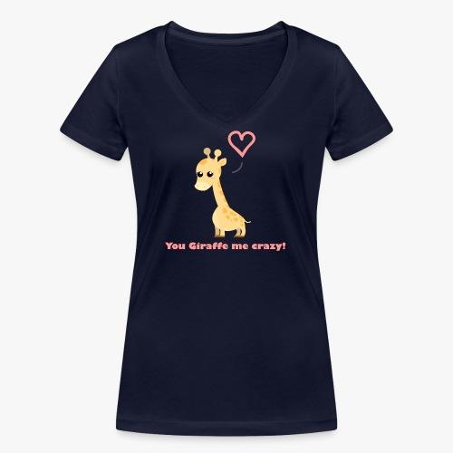 Giraffe Me Crazy - Økologisk Stanley & Stella T-shirt med V-udskæring til damer