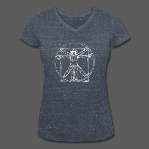 Vitruvian Gamer White Print - Frauen Bio-T-Shirt mit V-Ausschnitt von Stanley & Stella
