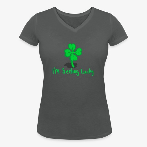Lucky Four Leaf Clover - Women's Organic V-Neck T-Shirt by Stanley & Stella