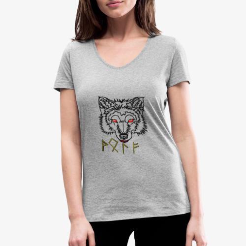 Wolkskopf mit Runen - Frauen Bio-T-Shirt mit V-Ausschnitt von Stanley & Stella