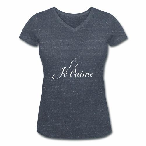 Je t'aime - Chat blanc, artistique avec silhouette - T-shirt bio col V Stanley & Stella Femme