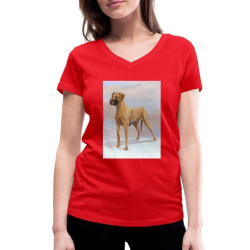 Great Dane Yellow - Økologisk Stanley & Stella T-shirt med V-udskæring til damer