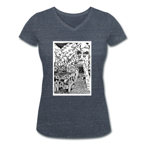 Sea Monsters T-Shirt by Backhouse - Women's Organic V-Neck T-Shirt by Stanley & Stella