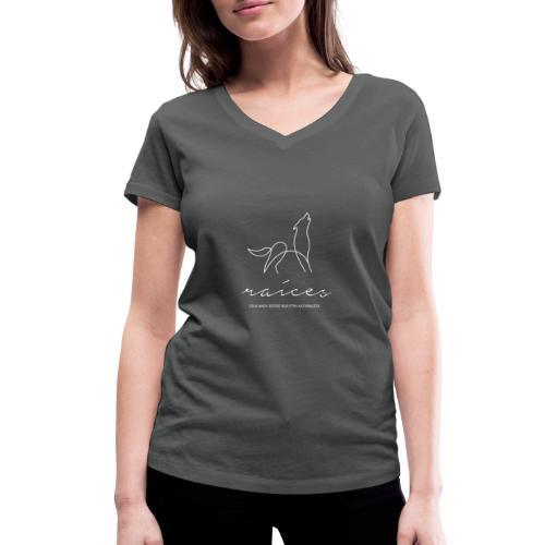 educando desde nuestra naturaleza blanco - Camiseta ecológica mujer con cuello de pico de Stanley & Stella
