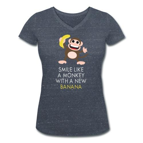 Monkey with banana - Frauen Bio-T-Shirt mit V-Ausschnitt von Stanley & Stella