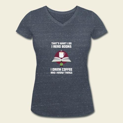 Buch und Kaffee, hell - Frauen Bio-T-Shirt mit V-Ausschnitt von Stanley & Stella