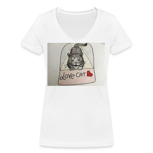 Love cat - T-shirt ecologica da donna con scollo a V di Stanley & Stella