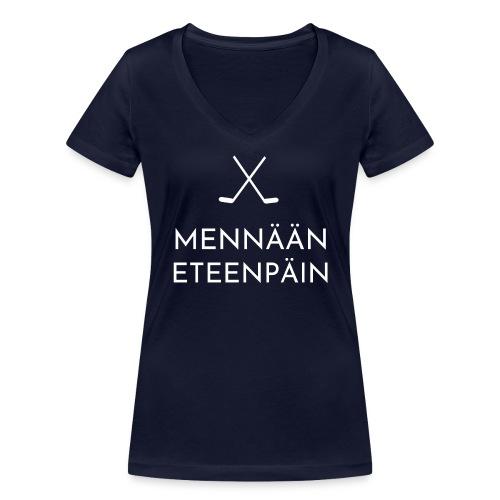 Mennaeaen eteenpaein valkoinen - Stanley & Stellan naisten v-aukkoinen luomu-T-paita