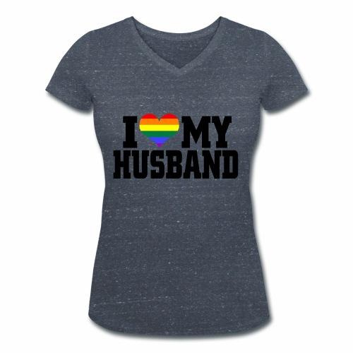 I Heart My Husband - Women's Organic V-Neck T-Shirt by Stanley & Stella