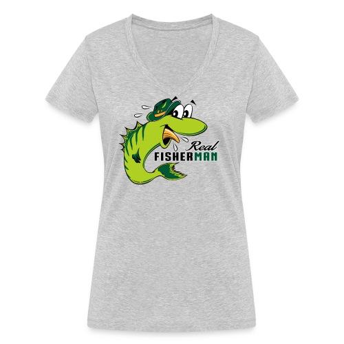 10-38 REAL FISHERMAN - TODELLINEN KALASTAJA - Stanley & Stellan naisten v-aukkoinen luomu-T-paita