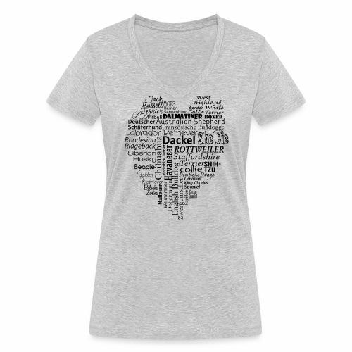 Hundeherz - Frauen Bio-T-Shirt mit V-Ausschnitt von Stanley & Stella