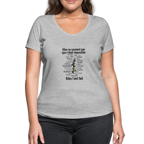 Impossible et fait Femmes brèche Fond Clair - T-shirt bio col V Stanley & Stella Femme