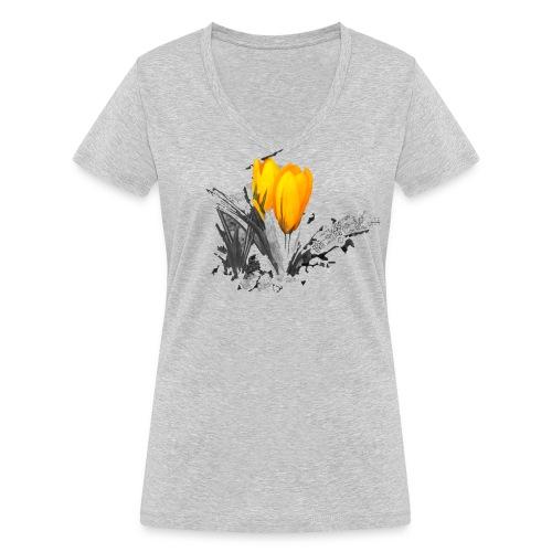 Oriental Yellow Flower - Frauen Bio-T-Shirt mit V-Ausschnitt von Stanley & Stella