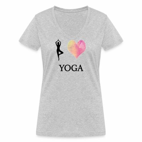 I love Yoga - Frauen Bio-T-Shirt mit V-Ausschnitt von Stanley & Stella