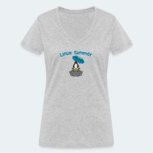 linux summer - T-shirt ecologica da donna con scollo a V di Stanley & Stella