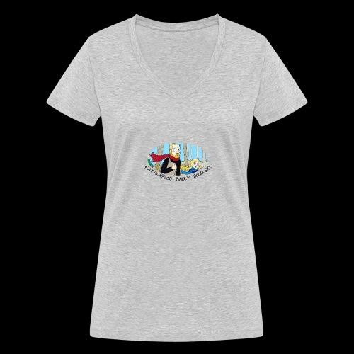Fatherhood Badly Doodled - Women's Organic V-Neck T-Shirt by Stanley & Stella