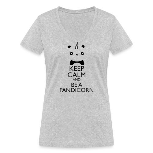 Keep Calm and Be A Pandicorn - Camiseta ecológica mujer con cuello de pico de Stanley & Stella