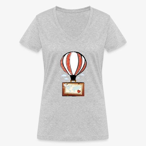 CUORE VIAGGIATORE Gadget per chi ama viaggiare - T-shirt ecologica da donna con scollo a V di Stanley & Stella