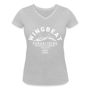 wingbeat logo - big - on back - in white - Women's Organic V-Neck T-Shirt by Stanley & Stella