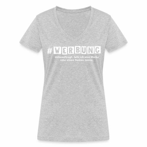 Hashtag Werbung weiss - Frauen Bio-T-Shirt mit V-Ausschnitt von Stanley & Stella