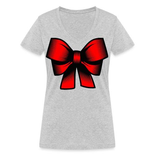 Schleife rot - Frauen Bio-T-Shirt mit V-Ausschnitt von Stanley & Stella