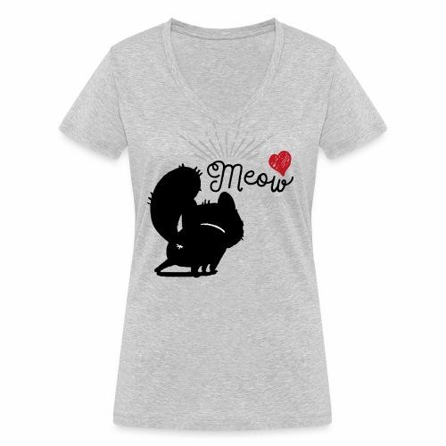 gatto meow - T-shirt ecologica da donna con scollo a V di Stanley & Stella