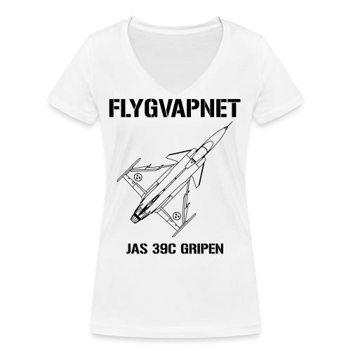 FLYGVAPNET - JAS 39C - Ekologisk T-shirt med V-ringning dam från Stanley & Stella