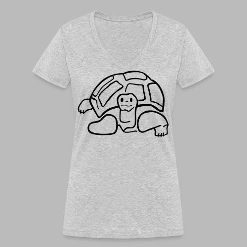 schildkröte landschildkroete aus den seychellen - Frauen Bio-T-Shirt mit V-Ausschnitt von Stanley & Stella
