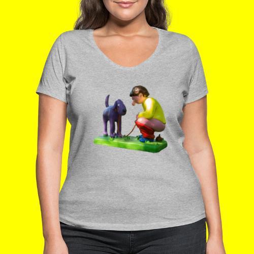 Mannetje Poep vrijstaand - Vrouwen bio T-shirt met V-hals van Stanley & Stella