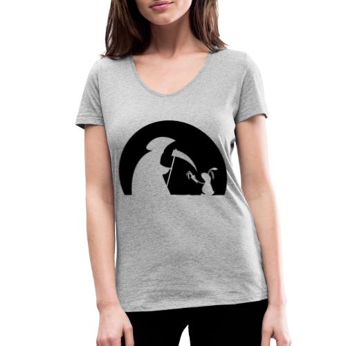 Hase Kaninchen Möhre Tod Sensenmann Karotte bunny - Frauen Bio-T-Shirt mit V-Ausschnitt von Stanley & Stella