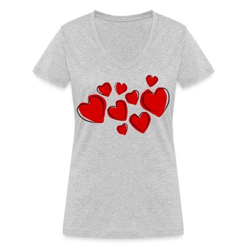 hearts herzen - Frauen Bio-T-Shirt mit V-Ausschnitt von Stanley & Stella