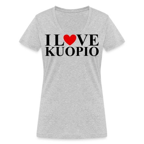 I LOVE KUOPIO (koko teksti, musta) - Stanley & Stellan naisten v-aukkoinen luomu-T-paita