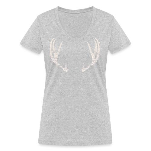 Jäiset poronsarvet - Stanley & Stellan naisten v-aukkoinen luomu-T-paita