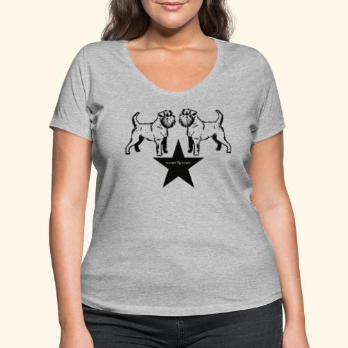 Brussels Griffon Logo - T-shirt bio col V Stanley & Stella Femme