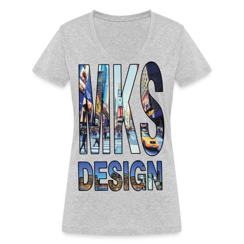 MERKOS modelo 3 - Camiseta ecológica mujer con cuello de pico de Stanley & Stella