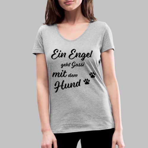 EIN ENGEL GEHT GASSI MIT DEM HUND - V2 - Black - Frauen Bio-T-Shirt mit V-Ausschnitt von Stanley & Stella