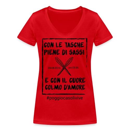 patch cuoresassi - T-shirt ecologica da donna con scollo a V di Stanley & Stella