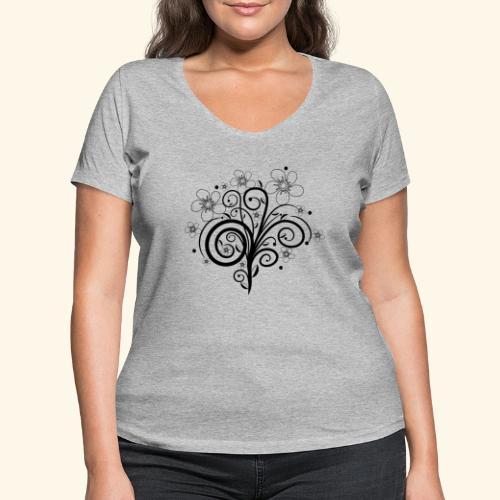 Blumenranke, Blumen, Blüten, floral, Ornamente - Frauen Bio-T-Shirt mit V-Ausschnitt von Stanley & Stella