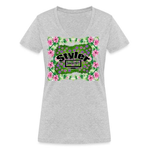 Styler Bloemen Design - Vrouwen bio T-shirt met V-hals van Stanley & Stella