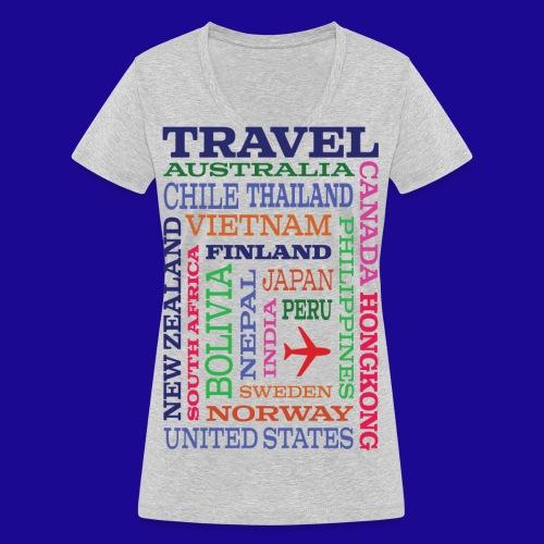 Travel Places design - Stanley & Stellan naisten v-aukkoinen luomu-T-paita