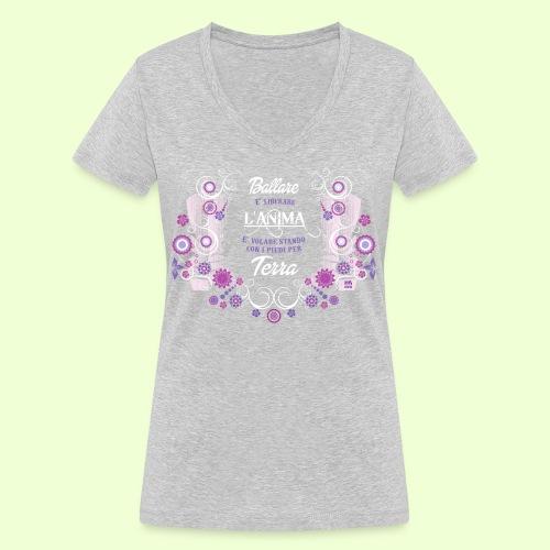 disegno linea Anima - T-shirt ecologica da donna con scollo a V di Stanley & Stella