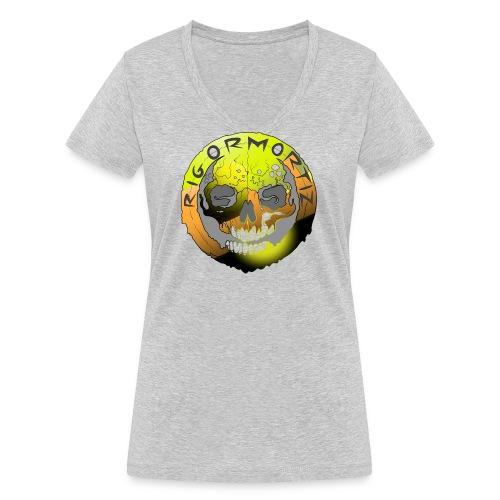 Rigormortiz Metallic Yellow Orange Design - Women's Organic V-Neck T-Shirt by Stanley & Stella