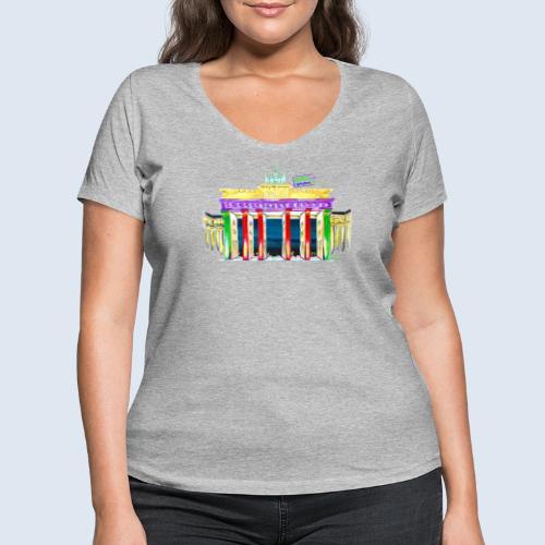 """Berlin """"Brandenburger Tor"""" PopArt Design - Frauen Bio-T-Shirt mit V-Ausschnitt von Stanley & Stella"""