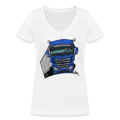 0807 M truck blauw trailer - Vrouwen bio T-shirt met V-hals van Stanley & Stella