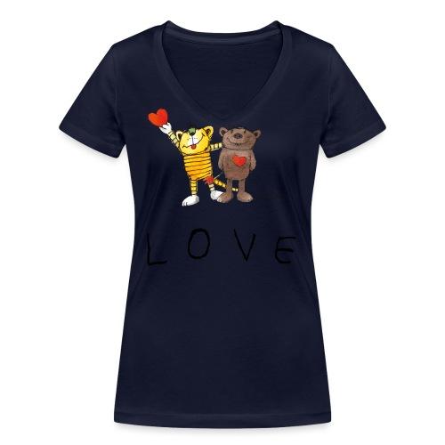 Janosch LOVE Schiftzug Tiger und Bär - Frauen Bio-T-Shirt mit V-Ausschnitt von Stanley & Stella