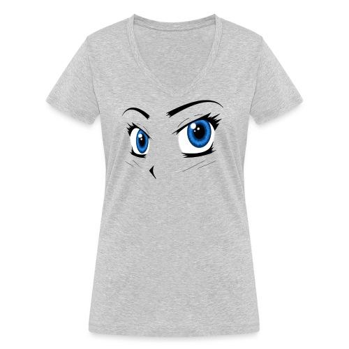Manga Eyes - Women's Organic V-Neck T-Shirt by Stanley & Stella